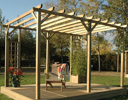 espaces et bois installation pose de pergola bois. Black Bedroom Furniture Sets. Home Design Ideas
